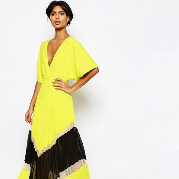 0ddd62322f ASOS Dresses & Skirts - ASOS Yellow Chevron Color Block Pleated Maxi Dress